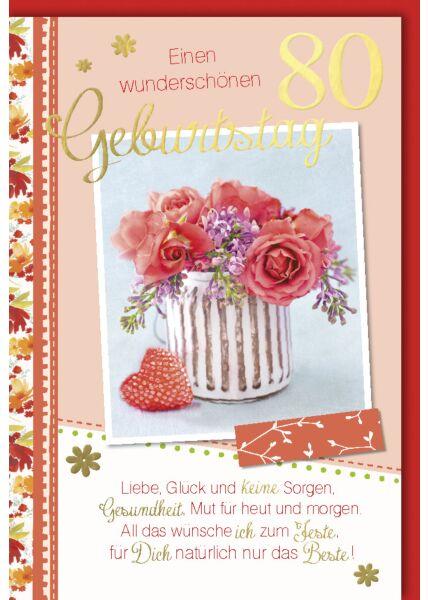 Geburtstagskarte 80 Liebe, Glück und keine Sorgen