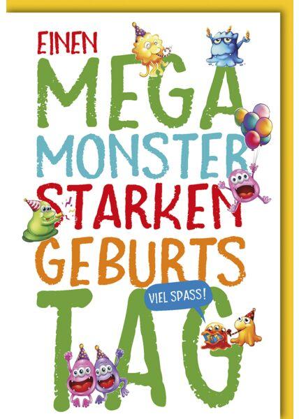 Geburtstagskarte für Kinder Mega Monster Stark
