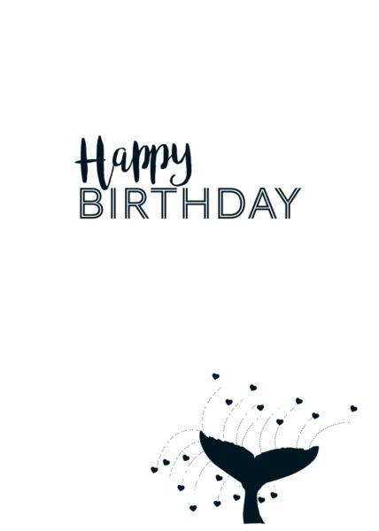 Glückwunschkarte Geburtstag Walflosse - Happy Birthday