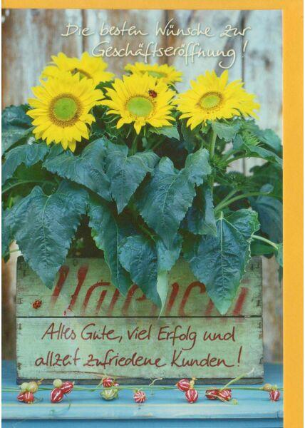 Geschäftseröffnung Karte Geschäfts Grußkarte Sonnenblume