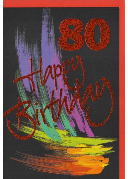 Geburtstagskarte 80 schwarz Schrift rot
