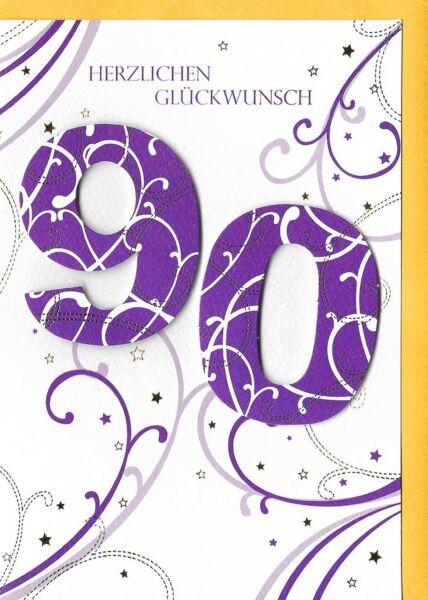 Geburtstagskarte 90 Glückwunschkarte 90 Jahre hochwertig