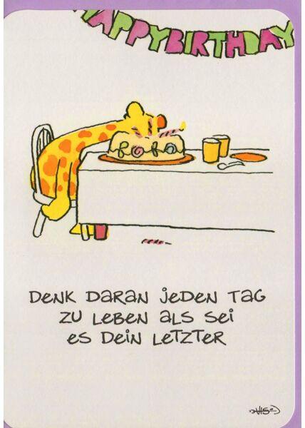 Leendert Jan Vis Geburtstagskarte witzig Giraffe Kopf Kuchen