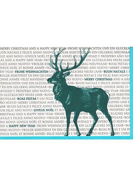 Weihnachtskarte mehrsprachig Elch Business premium