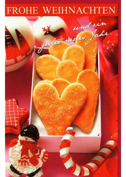 Weihnachtskarte Lebkuchenherzen