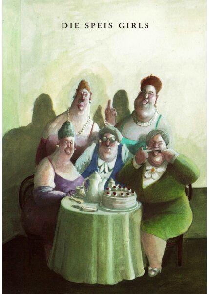 Postkarte die Speis Girls lustig