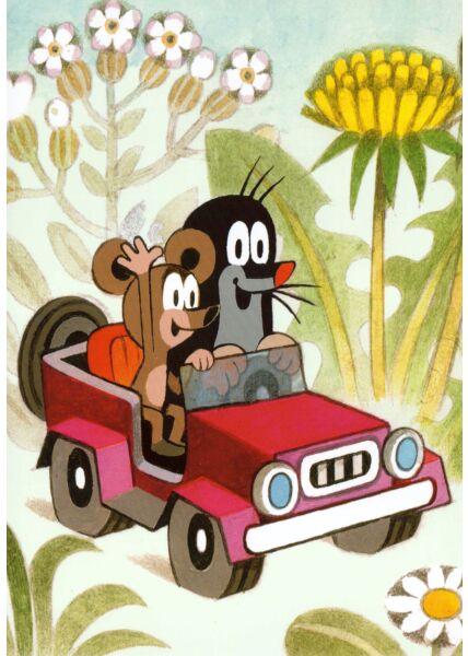 Postkarte für Kinder Der kleine Maulwurf im Auto