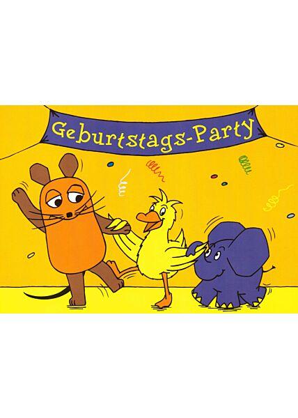 Maus-Postkarte Geburtstagsparty gelb