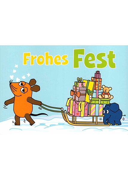 Maus-Postkarte Frohes Fest!