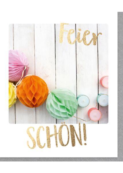Geburtstagskarte im Sofortbild-Format Feier schön