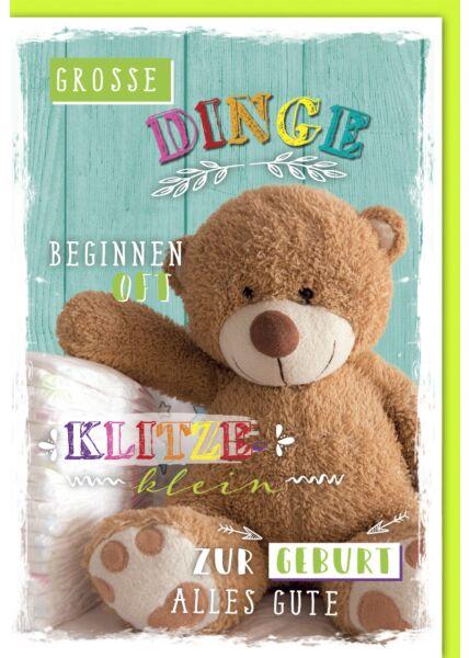"""Glückwunschkarte zur Geburt Baby Teddy """"klitzeklein"""""""