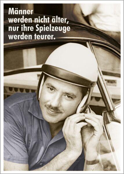 Postkarte Spruch lustig Männer werden nicht älter, nur ihre Spielzeuge werden teurer.