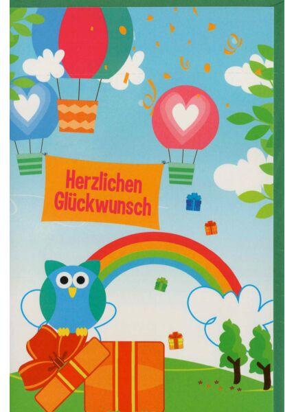 Geburtstagskarte für Kinder Eule auf Geschenk