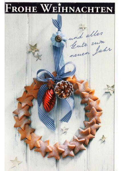 Frohe Weihnachten Karte Kranz Tür