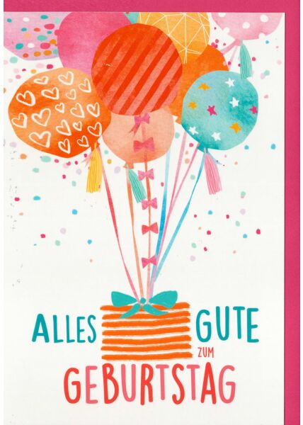 Geburtstagskarte Korb mit Schleife hängt an Luftballons