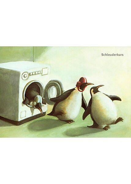 Postkarte lustig Pinguine Schleuderkurs