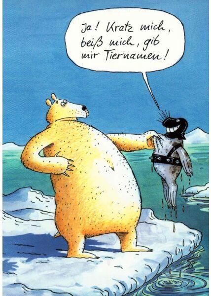Cartoon Postkarte Bär Robbe lustig