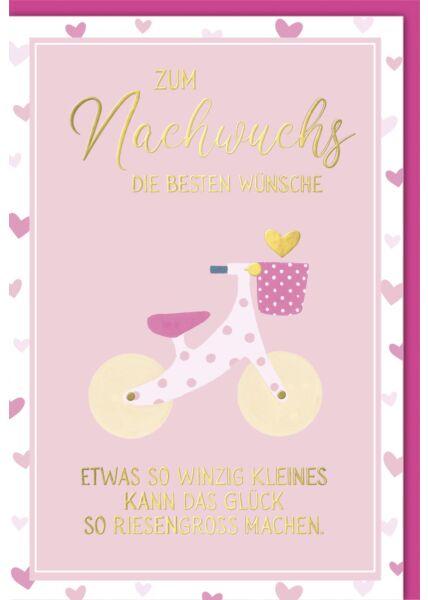 Glückwunschkarte Geburt Baby - Laufrad rosa