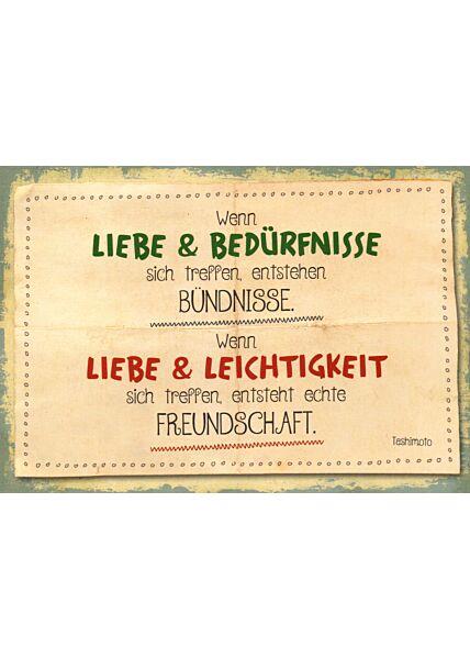 Spruch Freundschaft Postkarte Liebe & Leichtigkeit