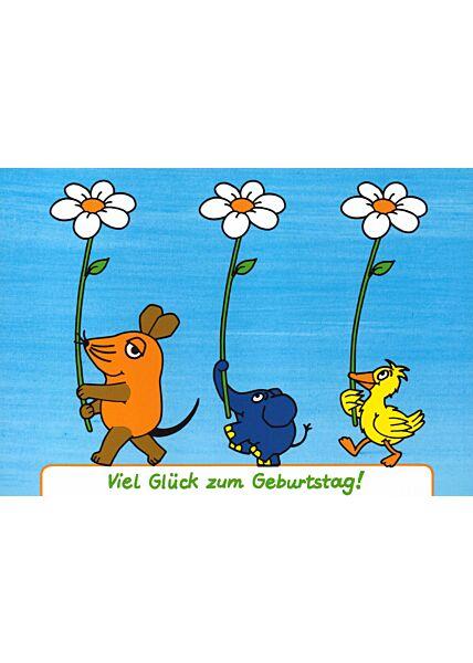 Maus-Postkarte Spruch Herzlichen Glückwunsch