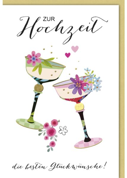 Glückwunschkarte Hochzeit zwei bunte Kelche