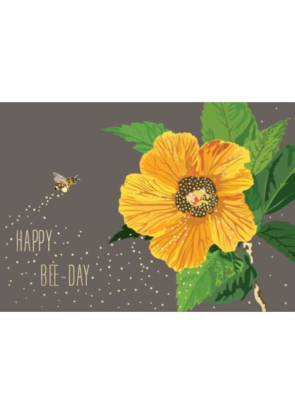 Geburtstagspostkarte Spruch Happy Bee-Day