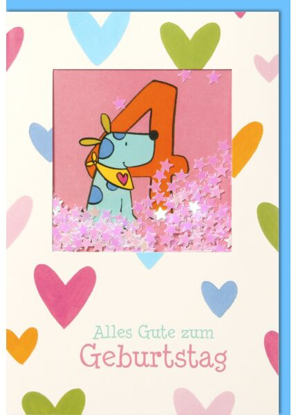 Geburtstagskarte für Kinder 4. Geburtstag - blauer Hund mit gelben Tuch