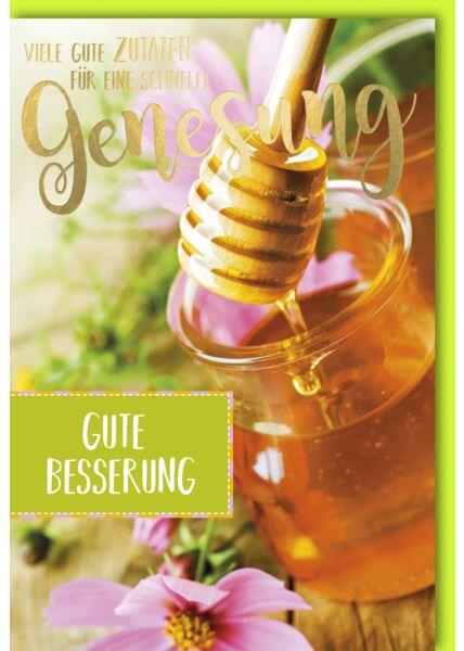 Genesungskarte Glas Honig