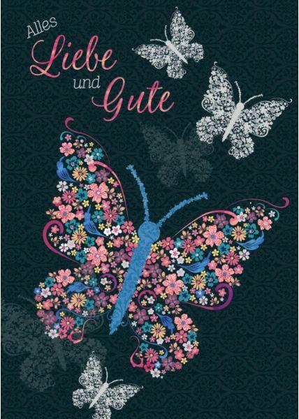 Geburtstagspostkarte Schmetterlinge Alles Liebe und Gute