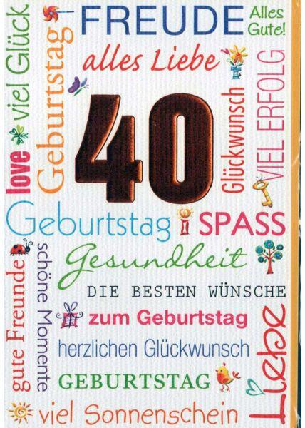 Geburtstagskarte 40. Geburtstag: zahlreiche Geburtstagswünsche