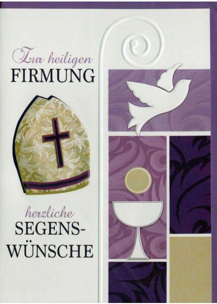 Glückwunschkarte zu Firmung lila Symbole