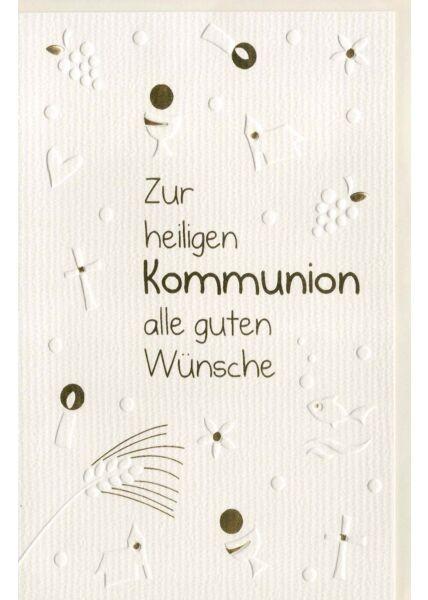 Glückwunschkarte Kommunion edles Papier gute Wünsche
