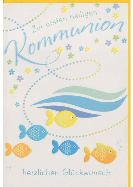 Grußkarte zur heiligen Kommunion mit Fischen