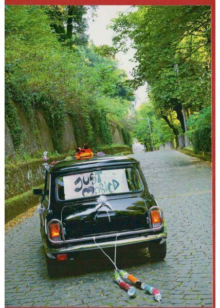 Grußkarte Hochzeit ohne Text mit Auto und Dosen