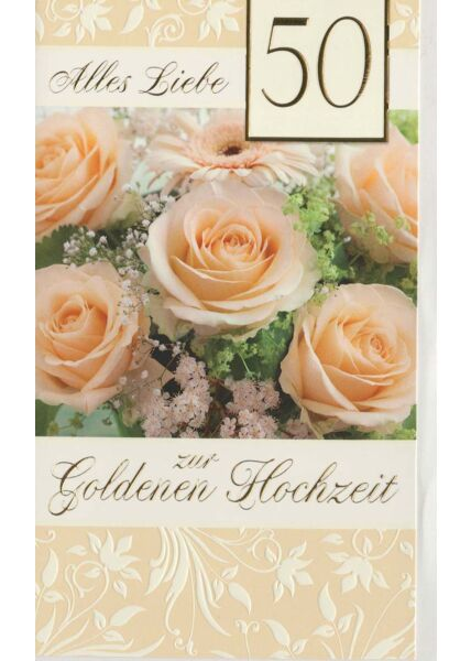 Glückwunschkarte goldene Hochzeit 6 Rosen