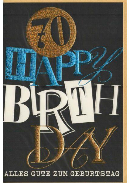 Glückwunschkarte 70 Happy Birthday schwarz