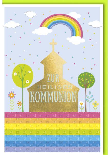 Glückwunschkarte Kommunion - Regenbogen