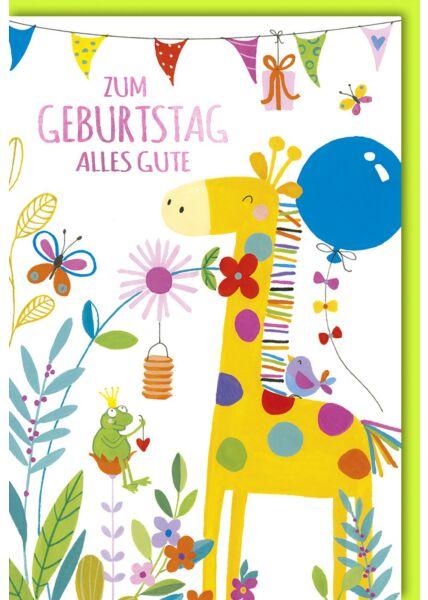 Kindergeburtstagskarte - Frosch und Giraffe unter Wimpelkette