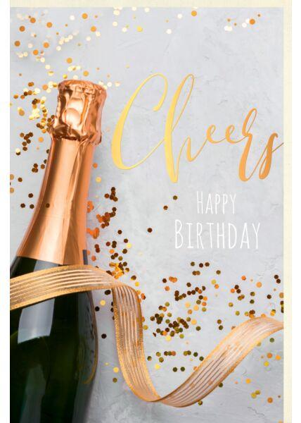 Karte Geburtstag Business Sektflasche Cheers