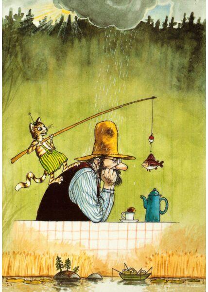 Postkarte Pettersson und Findus Angeln