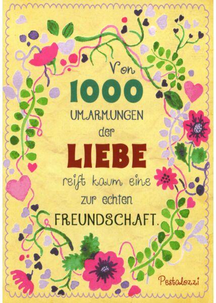 Postkarte Freundschaft Motiv 1000 Umarmungen