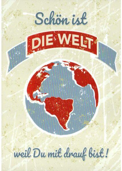 Postkarte Liebe Spruch Schön ist die Welt