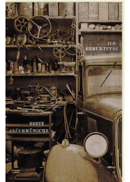 Geburtstagskarte für Männer Altes Auto und Werkzeug, mit Silberfolie