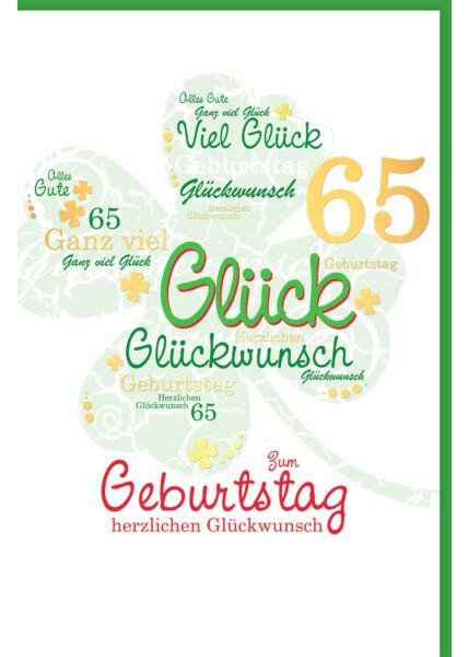 Geburtstagskarte 65 Kleeblatt herzlichen Glückwunsch