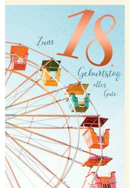 Geburtstagskarte 18 Zahlengeburtstag alles Gute