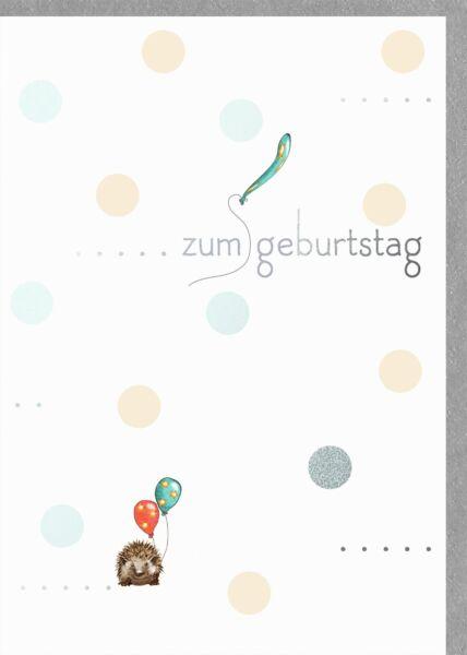 Glückwunschkarte Geburtstag Igel mit Ballons - zum Geburtstag
