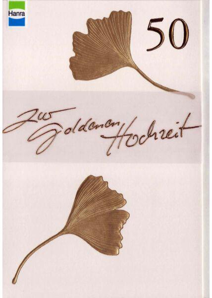 Goldhochzeit: goldene 50 mit goldenen Blättern auf weiß