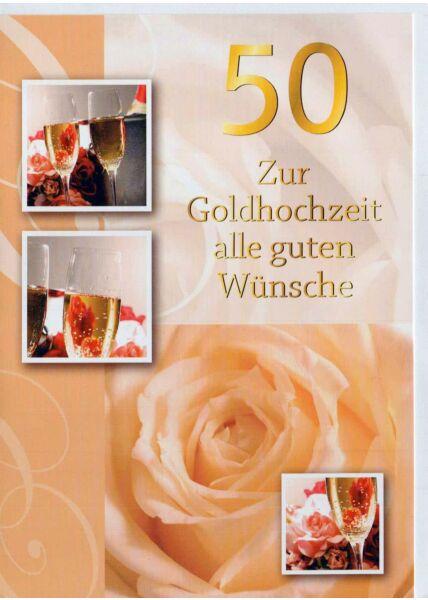 Glückwunschkarte Goldhochzeit: Alle guten Wünsche