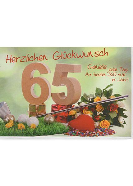 Geburtstagskarte 65 Jahre Genieße jeden Tag