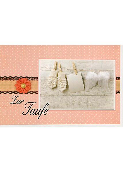Glückwunschkarte zur Taufe kleines Foto Wäscheleine